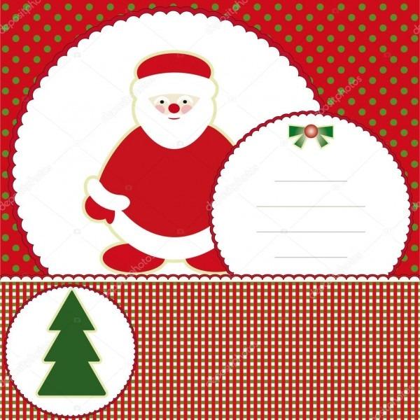Cartão de convite de ano novo com papai noel e árvore de natal