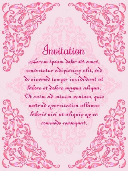 Convite De Casamento Ou Cartão Com Moldura De Laço No Fundo Rosa