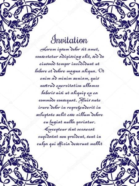 Convite De Casamento Com Intrincados Ornamentos Em Azul Sobre Um