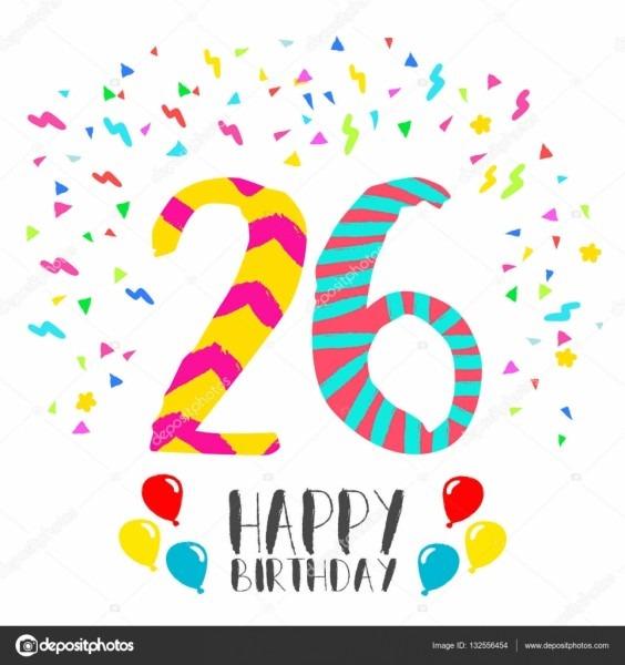Feliz Aniversário Para O Cartão De Convite De Festa De 26 Anos