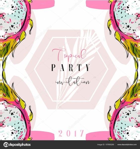 Modelo de cartão de convite do festa tropical mão desenhada vector