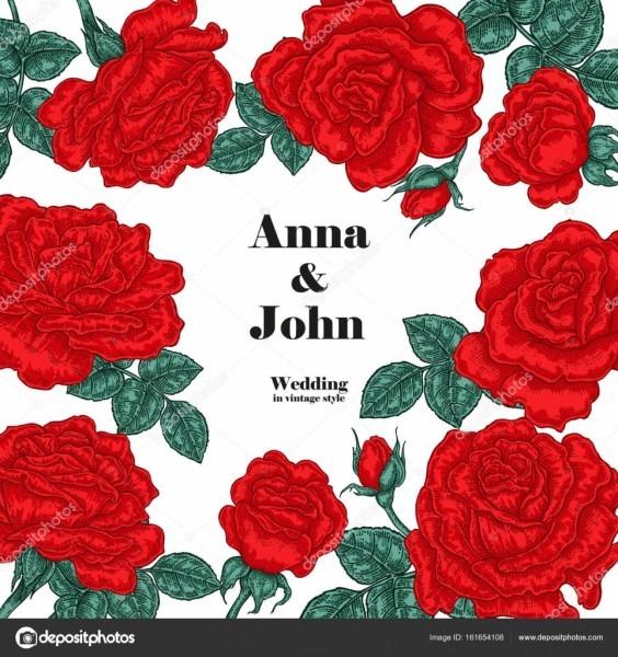Cartão de convite de casamento floral  desenho vetorial  rosas