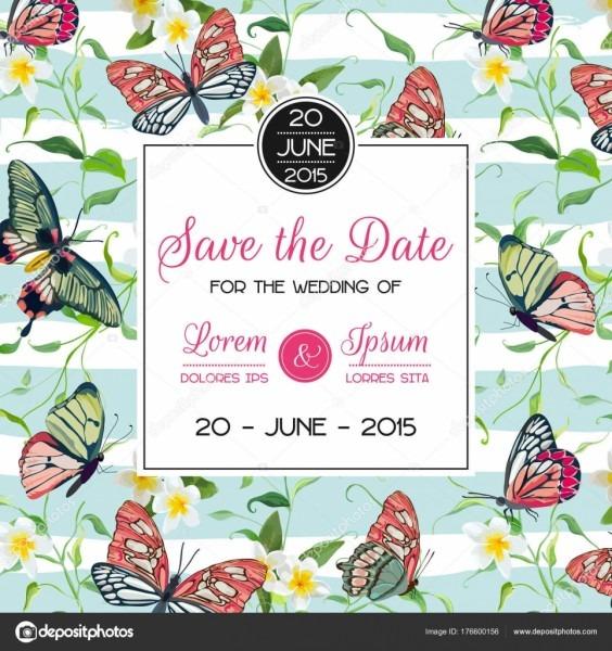 Casamento convite modelo design tropical com flores e borboletas