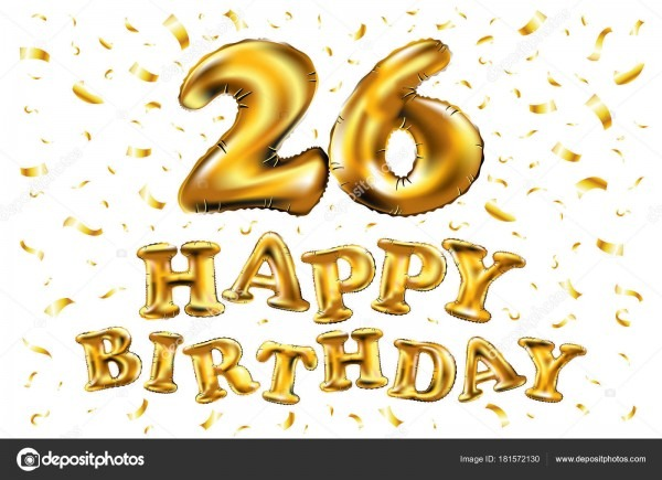 26 Celebração De Aniversário Com Balões Brilhante Ouro & Colorido