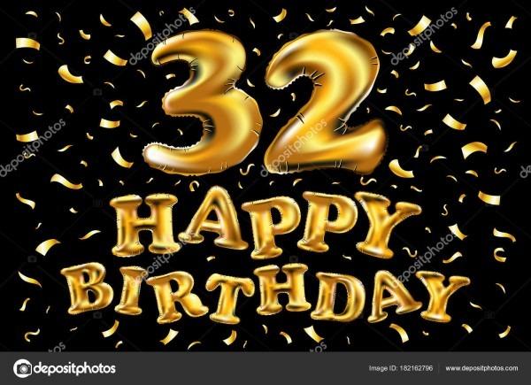 Feliz Aniversário 32 Anos Alegria Aniversário  Ilustração 3d Com