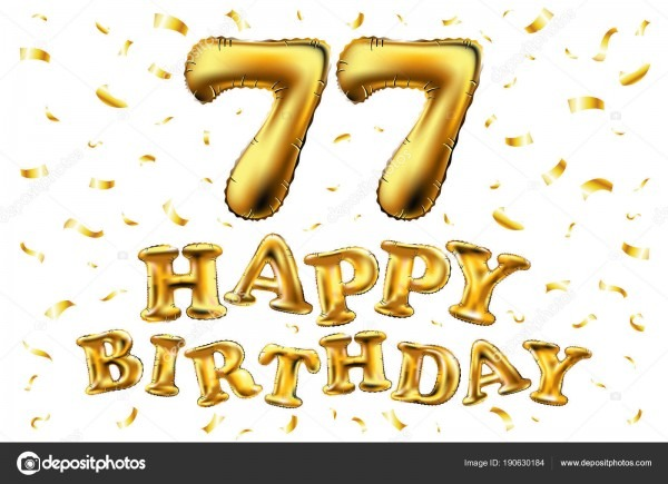 Vector feliz aniversário 77 celebração ouro balões e confetes ouro