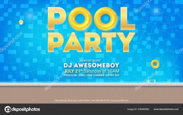 Festa de verão na piscina  convite para evento com desenho de