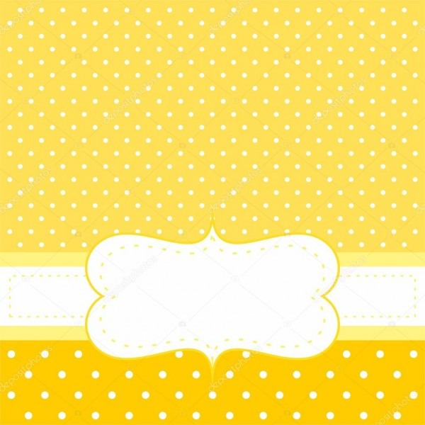 Vector ensolarado cartão ou convite com fundo amarelo, bolinhas