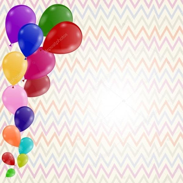 Fundo Colorido Com Balões  Convite De Aniversário — Vetores De