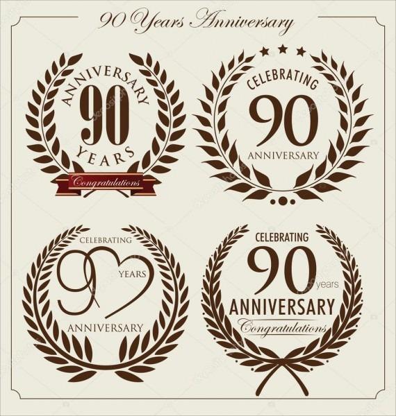 Anniversary laurel wreath, 90 years — stock vector © totallyout