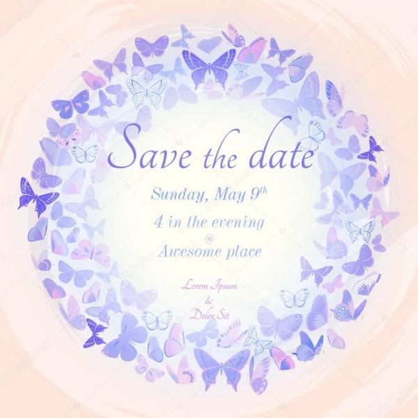 Grinalda de modelo de convite de borboletas — vetores de stock