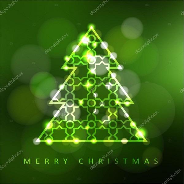 Moderno cartão de natal, convite com árvore de natal iluminada