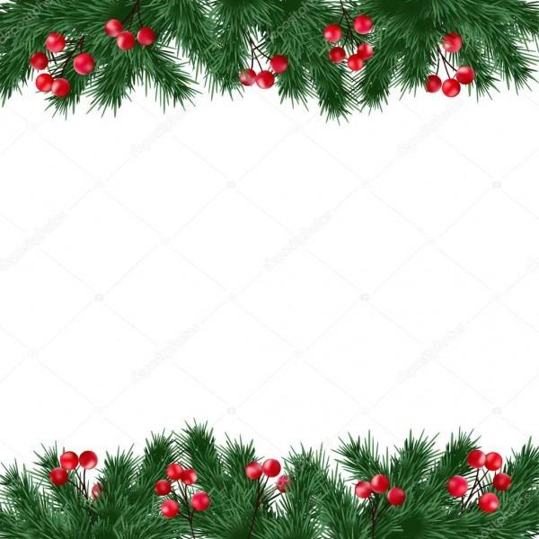 Cartão de natal, convite com galhos de árvore do abeto e fronteira