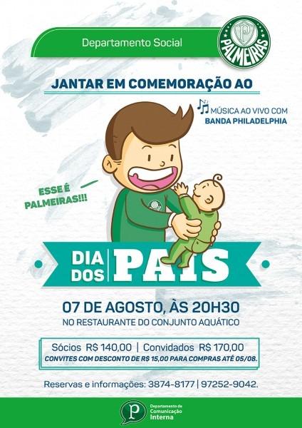 Palmeiras promove jantar de dia dos pais; compre seus convites com