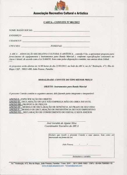 Arca paraÍba  carta convite n º 01 2012