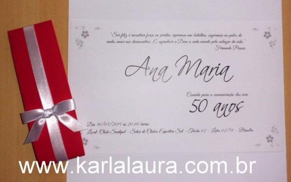 Convite de aniversário 50 anos