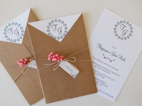 Convite rústico envelope v