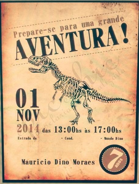 Convite tema dinossauro  br pode ser desenvolvido em qualquer tema