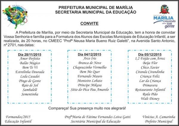 Secretaria municipal da educação de marília sp  convite formatura