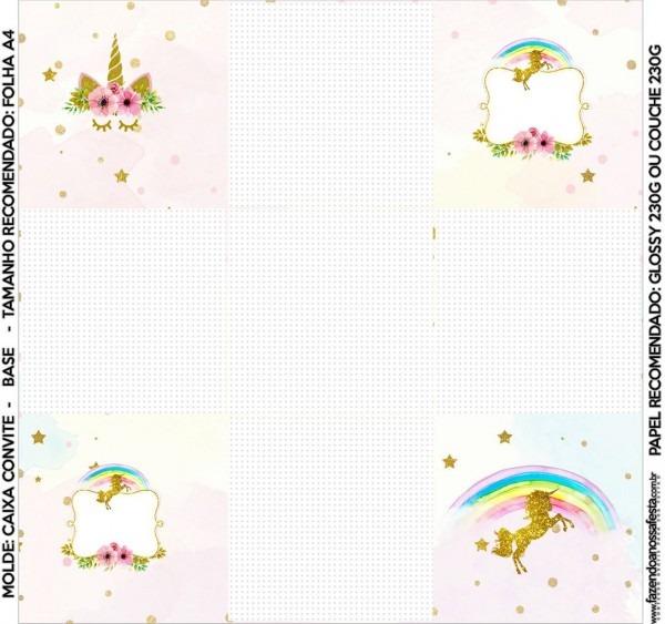 Fiesta de unicornios  cajas para imprimir gratis