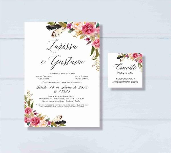 Convite Casamento Floral Rosa