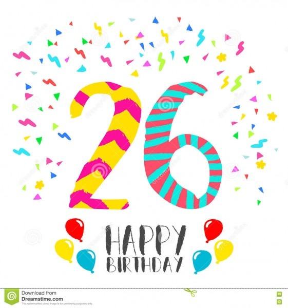 Feliz Aniversario Para O Cartão Do Convite Do Partido De 26 Anos
