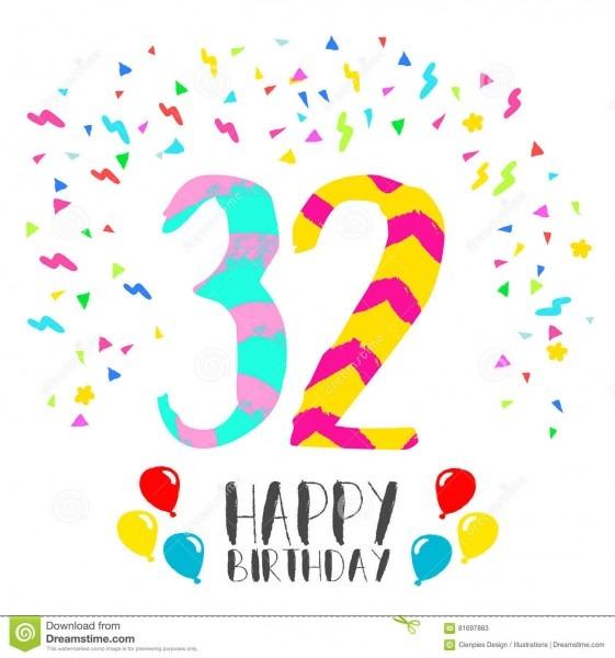 Feliz Aniversario Para O Cartão Do Convite Do Partido De 32 Anos