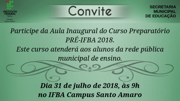 Convite Aula Inaugural PrÉ