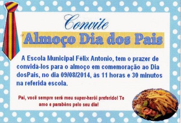 Escola M  Felix Antônio  Convite Dia Dos Pais E AlmoÇo Dia Dos