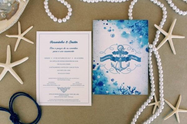 Convite de casamento com o tema mar