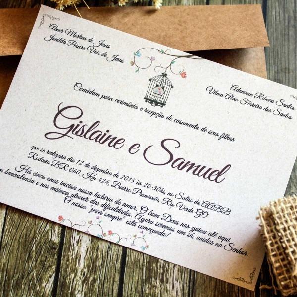 Kit 60 convites de casamento rústico + individuais e listas