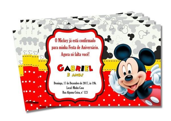 Kit convite de aniversário mickey 7x10 cm c  40 un