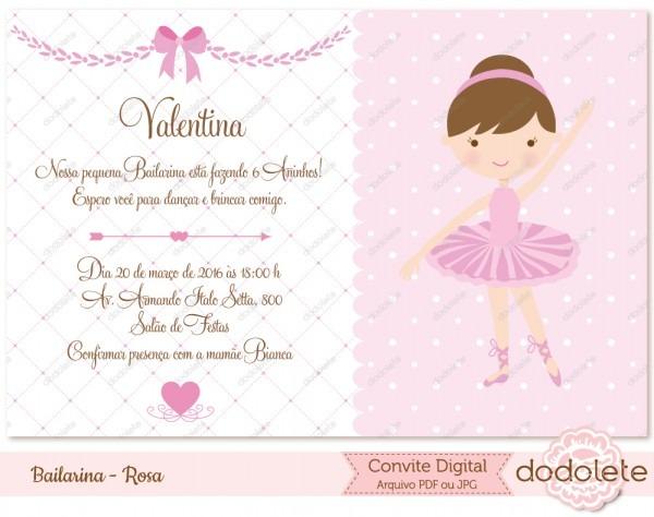 Kit festa digital bailarina rosa no elo7