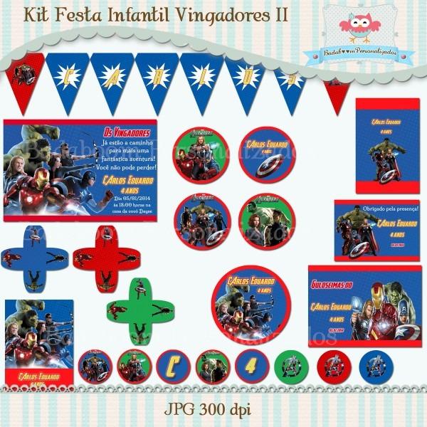 Kit festa infantil vingadores ii (arte) no elo7