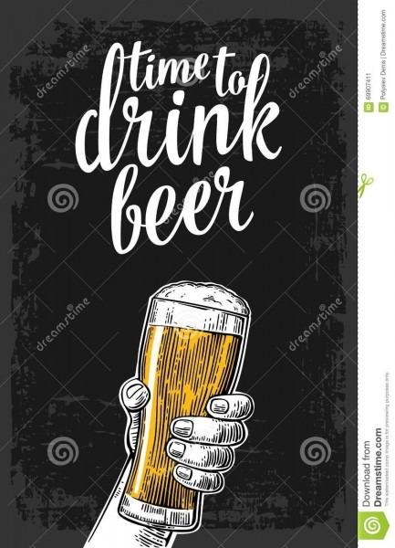 Mão masculina que guarda um vidro de cerveja ilustração para a web