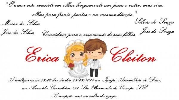 Diy  Convite De Casamento Com Desenho De Noivinhos