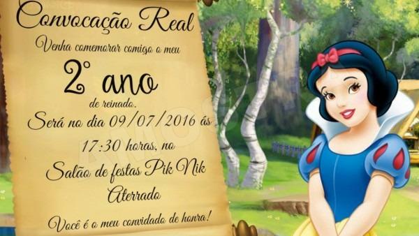 Convite Virtual Branca De Neve
