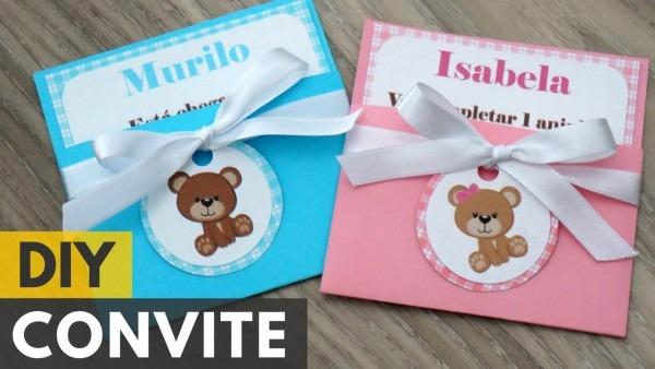 Convite De Aniversário Ou Chá De Bebê De Ursinhos