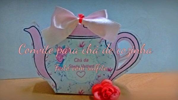 Convite lindo chá de cozinha, convite em formato de bule feito com