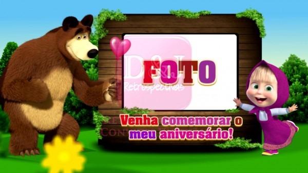 Convite virtual masha e o urso