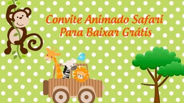 Convite Animado Safari Para Baixar E Editar Grátis