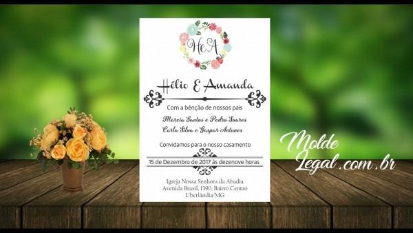 Convite de casamento editável