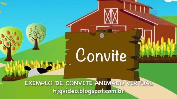 Convite Animado Virtual Tema Fazendinha
