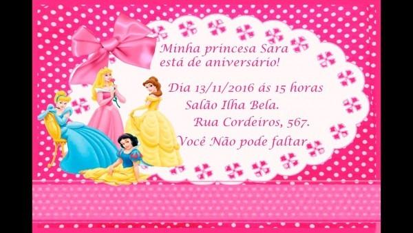 Como Fazer Convite De AniversÁrio Das Princesas No Word ❤