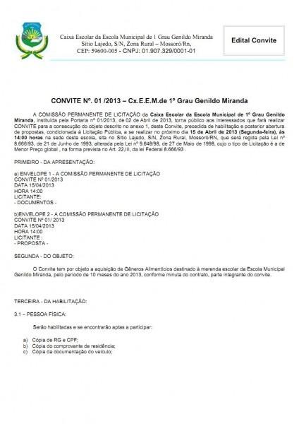 Blog da escola municipal genildo miranda  edital de licitação