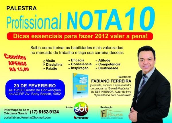 A página da vida  convite para palestra  profissional nota 10