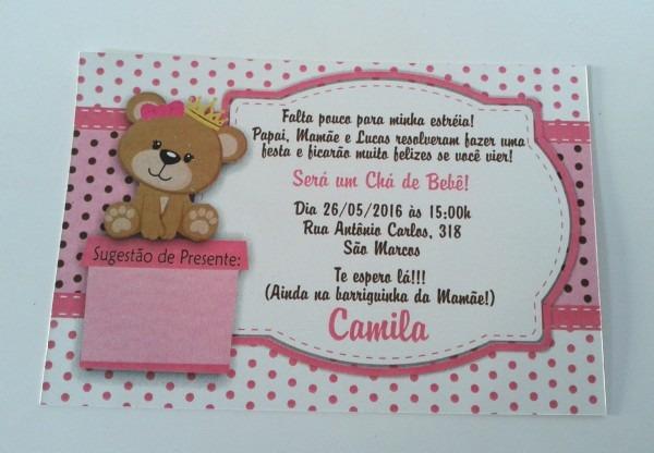 PromoÇÃo convite chá bebê ursinha 3 no elo7