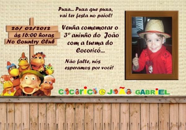 Van Oliveira Artes  Convite Cocoricó