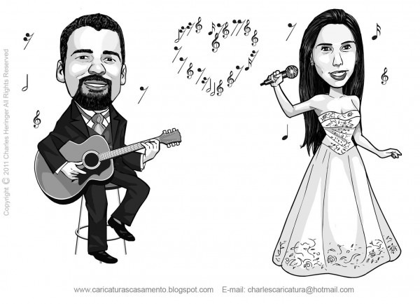 Caricaturas Para Convite De Casamento  Caricatura Noivo Tocando