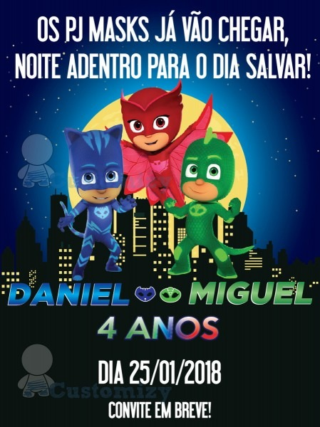 Save The Date Virtual Pj Masks No Elo7